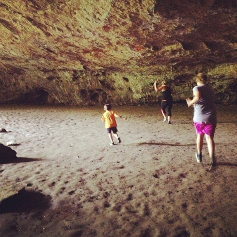 Enjoying my nieces and nephews. Dancing at the Maquoketa Caves here.